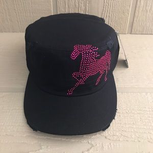 SALE! 2/$19 3/$26 PINK RHINESTONE HORSE CADET HAT